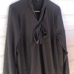 Lane Bryant women's black bow front blouse
